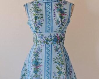 1970s Blue Floral Mini Dress / Angelair by Monika
