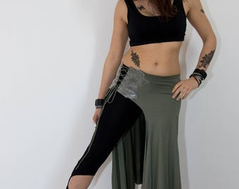 Skirt-skirt leather insert, tribal fusion, bellydance for training and lifestyle, (comfortable fabric from XS-L)