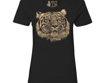 Women's Tiger T Shirt, 10% Donated to Animal Causes, Wildlife Tee, Animal Gift T-Shirt, Spirit Animal Tshirt