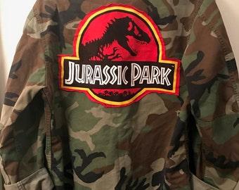 Vintage Repurposed Military Jacket With Jurassic Park Appliqué
