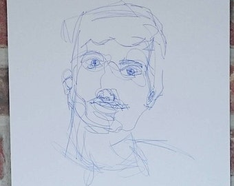 Blueprint | Ballpoint Portait, blind contouring drawing, sketch
