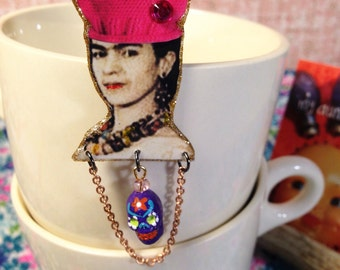 Frida Kahlo wearing a Pussy Hat Brooch Fund Raiser for Planned Parenthood