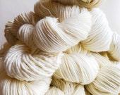 ecru / undyed yarn / fingering sock dk bulky yarn / super wash merino wool yarn / single or ply /choose your base/ natural cream white yarn
