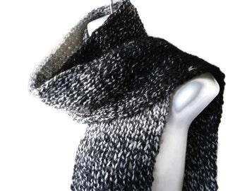 Rib Knit Scarf Black White Ombre Men Women RYE Ready to Ship Autumn Winter