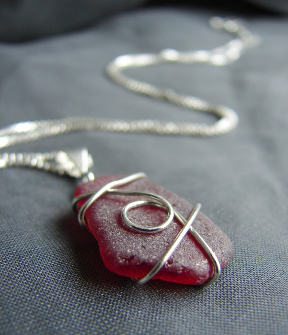 The Selkie red sea glass necklace