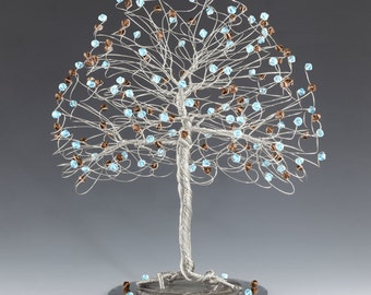 Tree Cake Topper with Swarovski Crystal Elements Blue and Brown on Silver Gold or Copper Tone Wire Aquamarine and Smoked Topaz