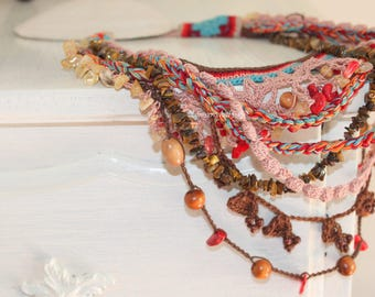 Bohemian layers statement textile necklace