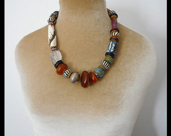 One of a kind artist's gallery necklace, gift for her, collector beads