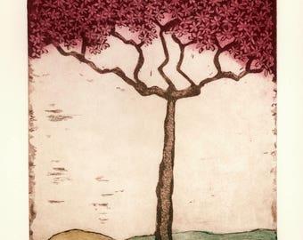 etching, flowering tree wall print, tree wall art, blossom print, blossoming tree art, pink blossoms, landscape art print, blossom wall art