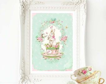 Rabbit print, nursery print, rabbit in a teacup nursery decor in pink and mint green, A4 giclee