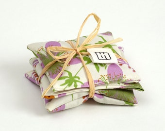 All organic lavender filled sachets squares, Set of 3
