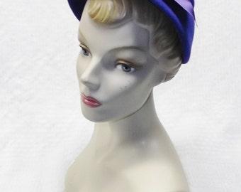 50s 60s Vintage Royal Blue Felt Hat with Purple Bow