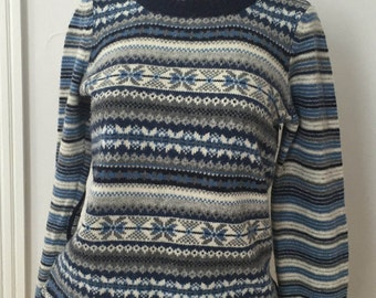 Wool Sweater, Wool Pullover Sweater, Fair Isle Sweater Size Small, Blue Black Gray Striped Sweater, Lambswool Sweater, Fair Isle Ski Sweater
