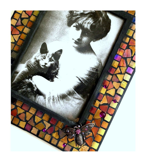 Iridescent Glass Mosaic Frame, Gold Copper Pink Bee Mosaic Frame, Pink Gold Glass Mosaic Photo Frame,  5 x 7 Embellished BumbleBee Frame
