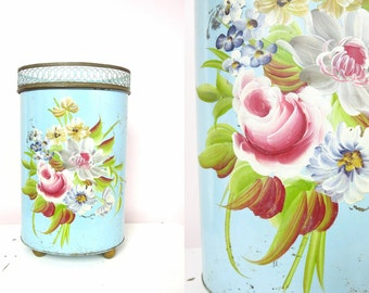 Shabby Chic Trash Can | Vintage Blue Hand Painted Floral Tole Waste Bin