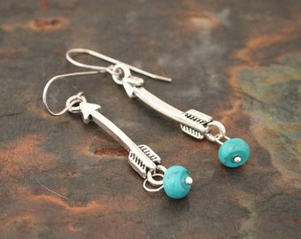 Arrow and Turquoise Earrings