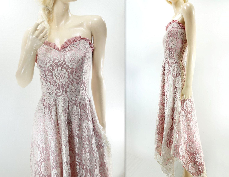 lace wedding dress 80s lace midi dress tea length boho wedding. Black Bedroom Furniture Sets. Home Design Ideas