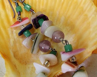 Colored Shell Bits and Glass Beads Pierced Earrings