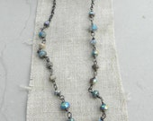 Handmade Boulder Opal, Dendrite Opal and Moss Aquamarine Sterling Necklace--Gemstone Mix