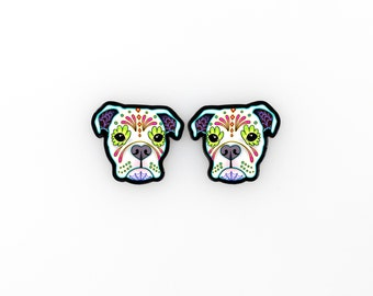 Boxer Earrings in White - Dia de los Muertos Sugar Skull Dog Post Earrings