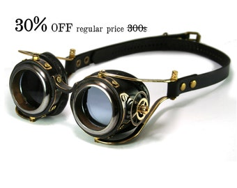 STEAMPUNK GOGGLES black leather blackened brass gears FLEX Solid Frames