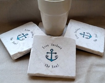 Love Anchors The Soul Coasters - Nautical Home Decor - Absorbent Tile Coasters