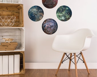 Space Galaxy Geometry Wall Decals, fabric eco-friendly repositionable