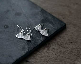 Fantail silver earrings with dots of 14kt gold