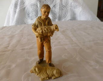 Shepard boy with lambs Antique Figurine Germany Bavaria 1920s Nativity