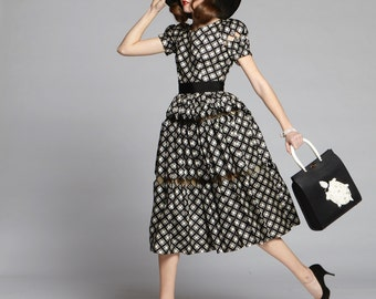 50s Black and White Diamond Checkered Print & Harlequin Peek-A-Boo Cutout Silk Dress // Dramatic New Look Glamour, Pinup Perfection