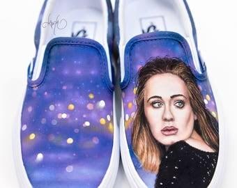 Custom Vans Shoes - Hand Painted Adele Portrait