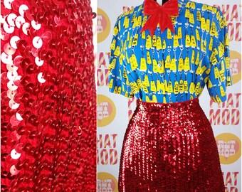 Vintage 70s Red Sequin Mini Go-Go Skirt! TURN HEADS!