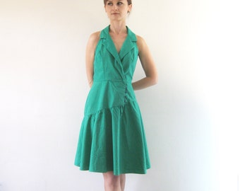 1980s Vintage Green Asymmetrical Dress Sleeveless Halter Collar Fit & Flare Dress XS