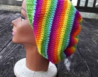 Pink rainbow hippie slouch beanie hat