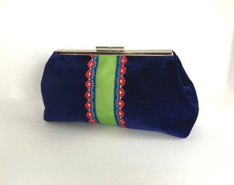 Navy clutch, royal blue clutch, velvet clutch, navy velvet clutch, velvet evening bag, preppy clutch, clutch with ribbon trim, one of a kind