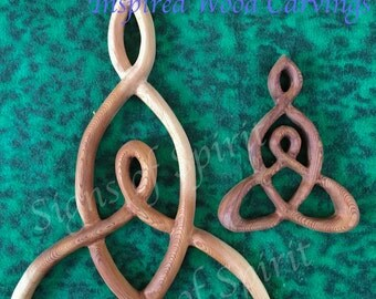 Mother and Child Knot -Miniature Wood Carved Celtic Knot Mothers Love-Nurturing