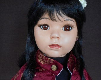 Christmas Sale - Porcelain Doll - 24 inch Oriental doll - handmade by Aritist - Christmas Special