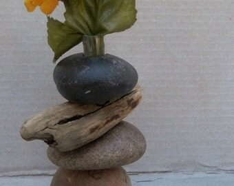 Bud Vase of Lake Superior Rock OR Rock  and Driftwood;  Select a Specific Vase