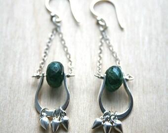 Long Silver Earrings, Green Earrings, Silver Earrings, Gemstone Jewelry