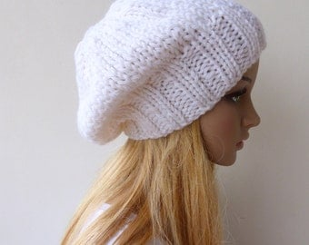 White Beanie White Knit Hat Slouchy beanie Womens Chunky Knit slouch hat