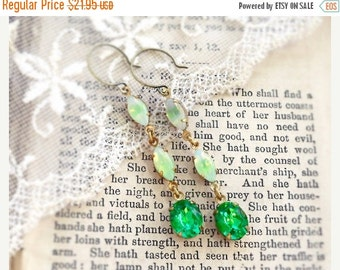 Moonstone Greenery, Vintage Mint Green Moonstone and Peridot Rhinestone Vintage Glass Dangle Earrings by Hollywood Hillbilly
