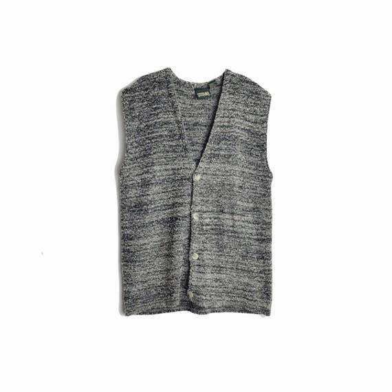 Vintage 90s Men's Static Gray Sweater Vest / Boucle Sweater Vest / Boyfriend Sweater - men's XL
