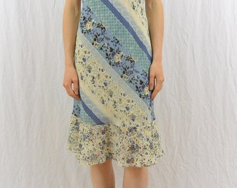 Vintage Mixed Print Dress, Size XS-Small, Ruffled, Floral Dress, 90's Clothing, Country Girl, Baby Blue, Feminine Dress, Boho