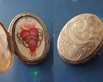Antique Victorian 10k Gold Locket Brooch Chased Engraved Oval Pin with Sacred Heart picture 1860s-70s