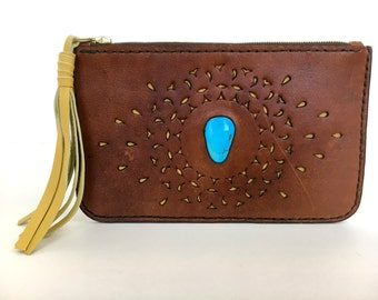Handmade Leather Clutch with Cutouts and Turquoise Stone