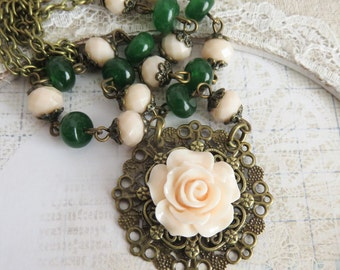 Green with peach flower necklace, beaded necklaces, peach rose jewelry, rustic necklace, gift for her, romantic jewelry