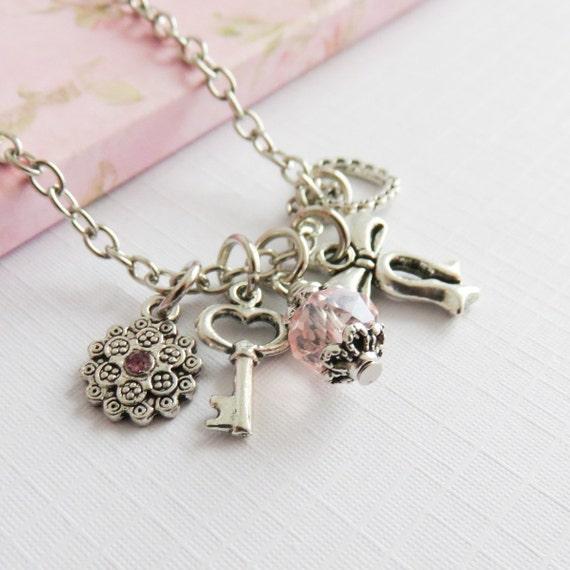 little girls charm necklaces pink necklaces gift for. Black Bedroom Furniture Sets. Home Design Ideas