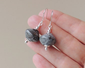 Grey Drop Earrings, Large Grey Creamic Bead Earrings, Chunky Earrings, Grey Bead Jewelry Jewellery, UK. 2030