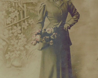 French Postcard - Woman with Flowers
