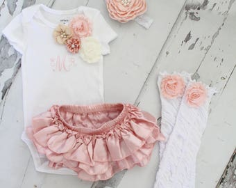 Newborn Baby Girl Coming Home Outfit Set of up to 4 Items, Blush Ruffle Diaper Cover, Rose Leg Warmers, Monogrammed Floral Bodysuit. Summer
